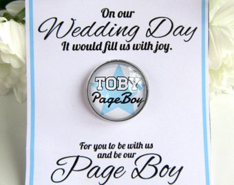 Page Boy Gift Personalised Glass Name Badge With Wedding Quote Card From Couple