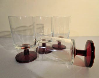 Luminarc Cavalier Ruby Red and Clear Wine Glasses -  Set of 4 - Made in France - Arcoroc - Christmas Holiday Tableware