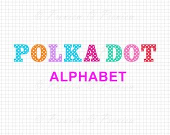 Buy 2 Get 1 Free! Digital Clipart Polka Dot Monogram Alphabet, silhouette modern font monogram style images png/eps/svg/dxf/studio cut files