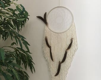 Large Neutral Dreamcatcher / Bohemian Dreamcatcher / Boho Wall Decor / Shabby Chic Dreamcatcher / Neutral Dreamcatcher