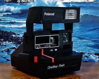 Vintage POLAROID ONESTEP FLASH Instant Print Film Camera With Red Stripe, Circa: Early 90's, Wonderful Shape!