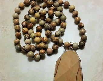 Mama Gaia Brown Jasper Stone Pendant Hand Knotted Necklace 34 Inches