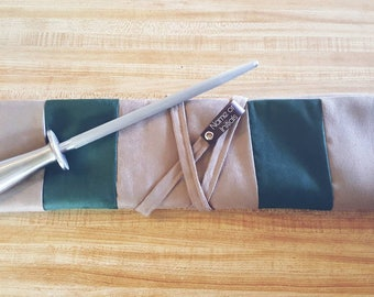 Hunter green & Taupe 5 slot Knife roll, knife case, chef roll personalized with initials made with taupe suede (Handcrafted)