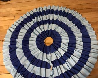 Christmas tree skirt, blue christmas tree skirt, blue tree skirt, ruffled skirt, blue skirt, ruffled tree skirt,
