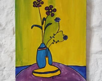 Flowers Original Expressionist Oil Painting on Canvas of Flowers in a Vase, Oil on Canvas, Original Painting, Impressionism Art Original Art