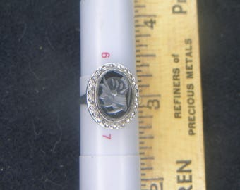 Sterling and Hematite Cameo(737)