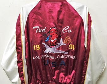 VINTAGE TED COMPANY tedman devil air force embroidery japan souvenir jacket