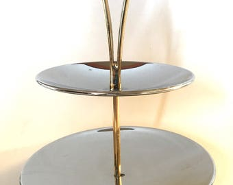 Mid Century Kromex Two Tier Chrome Tidbit Serving Tray with Handle