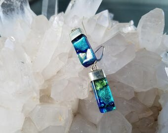 Aqua Blue Green Dichroic Glass Sterling Silver Earrings