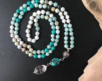 Amazonite, Turquoise and Howlite 108 Mala Bead Necklace, Yoga knotted Necklace, Long Beaded Necklace, Japa Mala, Meditation Gifts,Wife Gifts
