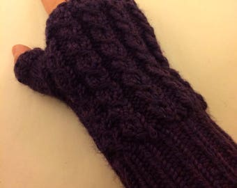 Mock cable Fingerless Mitts