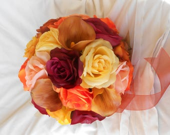 Fall wedding bridal brides maids  bouquet set o 4 bouquet 4 boutonniers pieces made of roses ,