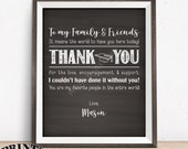 """Thank You Sign, Graduation Party Decoration, Thanks from the Graduate Thank You Poster, PRINTABLE 8x10/16x20"""" Chalkboard Style Grad Sign"""