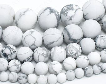 "Matte White Howlite Beads Natural Gemstone Round Loose - 4mm 6mm 8mm 10mm 12mm - 15.5"" Strand"