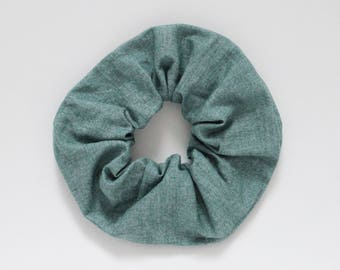 Scrunchie, Denim like, Jeans, Blue, Grey, Washed, Faux linen, Hair tie, White, Fashion accessory, Elastic band, Ponytail, Cotton, Cute, Neon