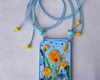 Blue jewelry yellow Flowers Large pendant necklace Mom Gift to sister cute pendant unique women gift  beautiful jewelry Birthday gift Fancy