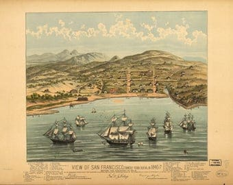 San Francisco CA Panoramic Map dated 1846. This print is a wonderful wall decoration for Den, Office, Man Cave or any wall.