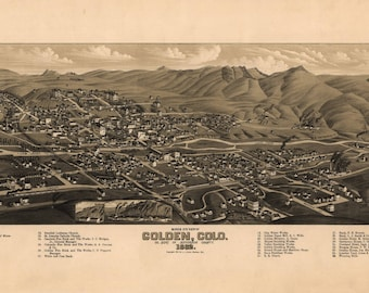 Golden CO Panoramic Map dated 1882. This print is a wonderful wall decoration for Den, Office, Man Cave or any wall.