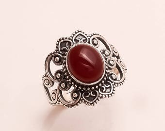 925 Solid Sterling Silve Red Onyx   Ring
