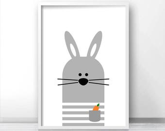 Bunny Nursery Wall Art, Digital Download Nursery Print, Instant Download, Kids Prints, Animal Nursery Art, Gray Nursery Decor, Kids Wall Art
