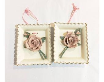 Set of 2 Porcelain Rose Wall Hangings Signed Fleur De Lis In California
