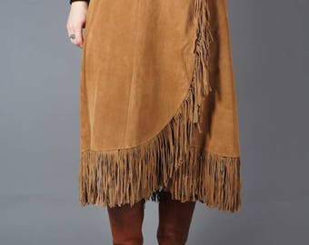 Suede Midi CowGirl Skirt