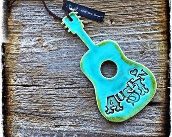 Turquoise Acoustic Guitar Ornament