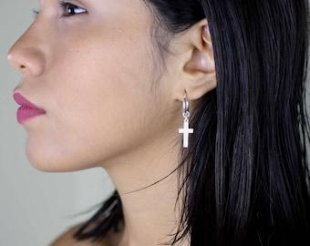 Sterling Silver Cross Earrings, Silver Cross Dangle Earrings, Silver Hoop Earrings, Hoop Cross Earrings, Cross Dangle Earring