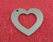 """1 1/4"""" Heart Stainless Steel Engraving Washers, 3/4"""" Inside Heart, 18 Ga Thick, 5 Pcs, Made in USA, Deburred and Burnished,"""
