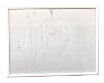 Nude Line Drawing -- Nude Line Drawing -- Nude Figure Line Drawing -- Vintage Line Drawing -- Line Drawing Art -- Nude Figure Art