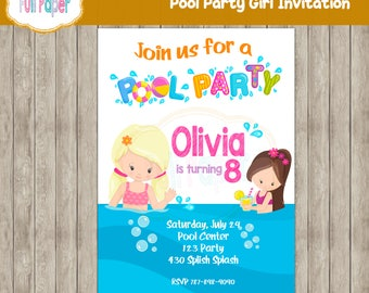 Pool Party Girl Invitation, Pool Party, Summer Invitation, Girl Invitation, Party Birthday, Swimming Pool, Invitation Pool Party