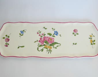 Flat cake or cakes faience Saint Amand 1713 floral french vintage