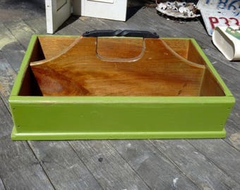Tote, Green Tote, Wooden Tote, Painted Tote, Iron, Centerpiece, Cubby, Carryall, Maxs Uniquities, Olive Green, Knotty Pine, Rustic, Picnic