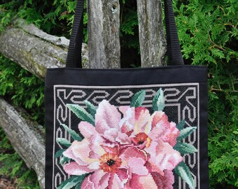 Pink Orchids Cross-Stitch Tote