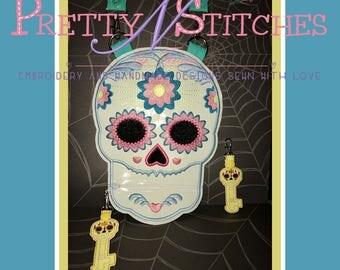 Digital Download ITH Sunray Skull Zipper bag Applique Embroidery Designs includes 5X6.8, 6X8.15, 7X9.5 bonus Skeleton Key Zipper pull
