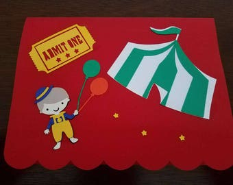 12 Handcrafted Clown Theme Birthday Invitations