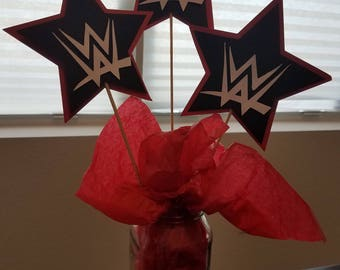 3 WWE Inspired Centerpieces, Red and Black Centerpieces, WWE Inspired Centerpieces