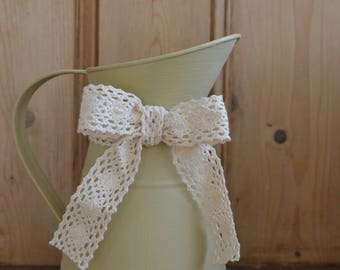 Charming Green Country Jug with Cream Lace