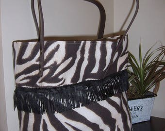 "Tote bag is hand ""Fringed Tan"""