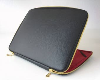 Black leather laptop case,leather case,laptop sleeve,leather laptop bag,gold zipper,classic,laptop case,laptop 15,6,cover,macbook 15,17 inch