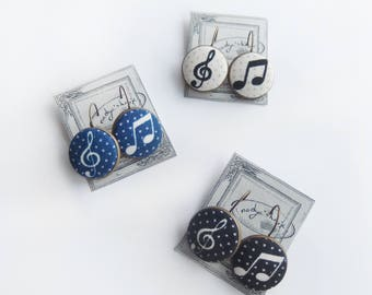 Music Note Earrings, Treble Clef Earrings, Music Earrings, Music Jewelry, Gift for Music Lover,Gifts For Musician,Button earrings,Cute gift