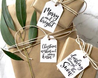 9 Christmas Tag Set, Christmas tags, handmade gift tag, Calligraphy, Scandi Gift Tags, Modern Gift Tags