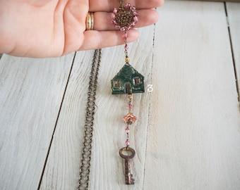 long necklace with small dark green raku ceramic, antique key, original gift, new House, moving house, ceramic jewelry