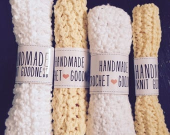 Knit Washcloth//Crochet Washcloth//Handmade Bath Accessories