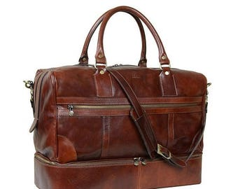 ON SALE Leather Travel Bag for men,Leather Duffel bag, Mens duffel bag, Leather Weekend bag, leather duffel for men - The Trial