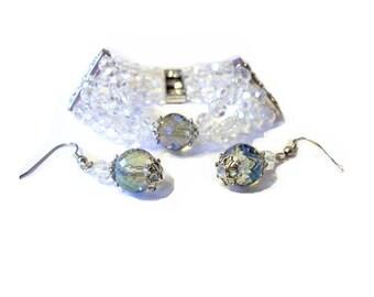 Set bracelet and earrings, Crystal quartz glass beads