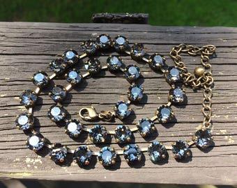 Black diamond Swarovski crystal necklace in gold setting