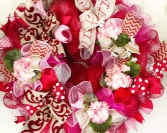 Valentine's Day Wreath, Valentine Deco Mesh Wreath, Red Floral Wreath, Elegant Valentine Wreath, Valentines Decor, Valentine Decoration