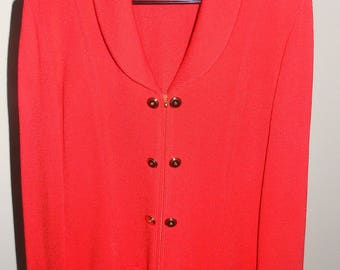 Sale!! Apple Red / ST JOHN Collection By Marie Gray Knit Sweater Jacket / Sz 8 /  MINT Condition