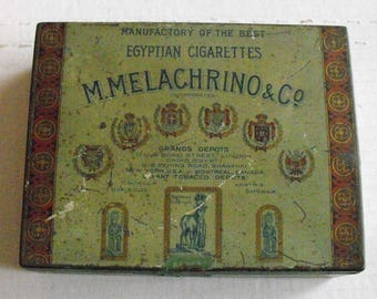 Vintage M Melachrino & Co 100 Egypitan Cigarettes Tin